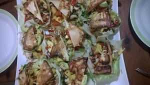 iceberg and lettuce shells with mango avocado salad and gilled tofu